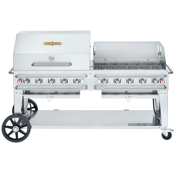 """Crown Verity CV-RCB-72RWP-SI50/101 Liquid Propane 72"""" Pro Series Outdoor Rental Grill with Single Gas Connection, 50-100 lb. Tank Capacity, and RWP Roll Dome / Wind Guard Package Main Image 1"""