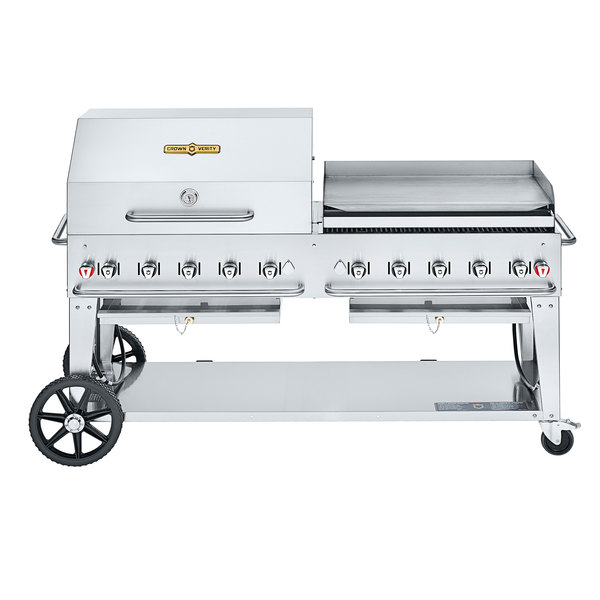 """Crown Verity CV-MCB-72 SI50/100-RGP Liquid Propane 72"""" Mobile Outdoor Grill with Single Gas Connection, 50-100 lb. Tank Capacity, and RGP Roll Dome / Griddle Package Main Image 1"""