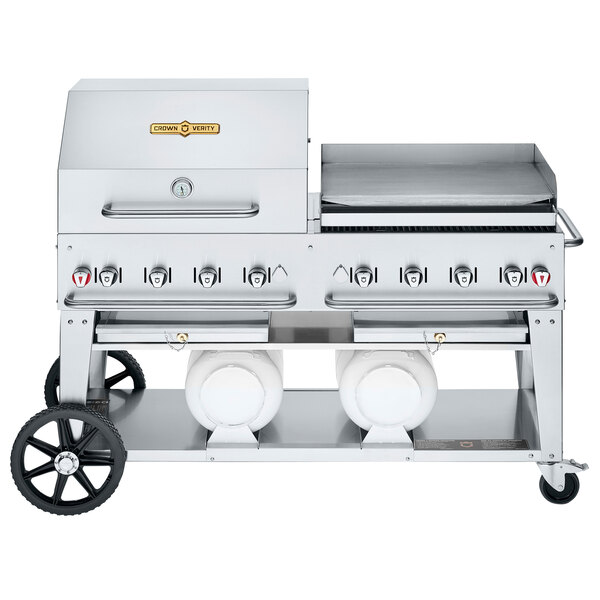 """Crown Verity CV-CCB-60RGP Liquid Propane 60"""" Club Grill with 2 Horizontal Propane Tanks and RGP Roll Dome / Griddle Package Main Image 1"""
