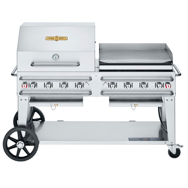 """Crown Verity CV-RCB-60RGP-SI50/101 Liquid Propane 60"""" Pro Series Outdoor Rental Grill with Single Gas Connection, 50-100 lb. Tank Capacity, and RGP Roll Dome / Griddle Package Main Image 1"""