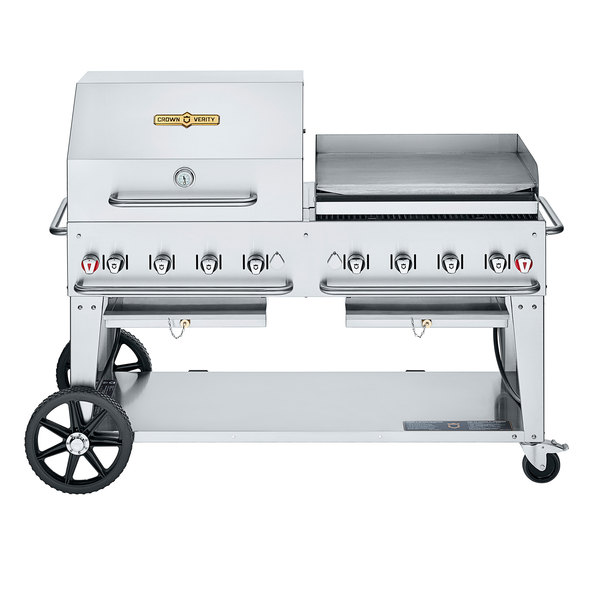 """Crown Verity CV-MCB-60 SI50/100-RGP Liquid Propane 60"""" Mobile Outdoor Grill with Single Gas Connection, 50-100 lb. Tank Capacity, and RGP Roll Dome / Griddle Package Main Image 1"""