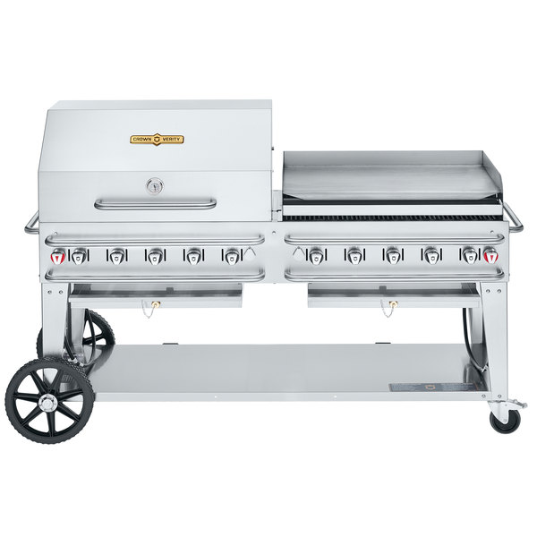 "Crown Verity CV-RCB-72RGP-SI50/102 Liquid Propane 72"" Pro Series Outdoor Rental Grill with Single Gas Connection, 50-100 lb. Tank Capacity, and RGP Roll Dome / Griddle Package Main Image 1"