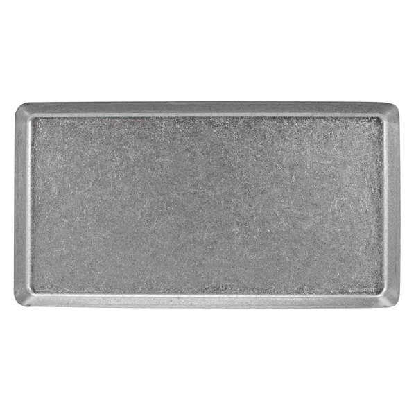 """Front of the House DSP039ANS21 Mod 12 1/2"""" x 8 1/4"""" Rectangular Antique Finish Stainless Steel Plate - 4/Case Main Image 1"""