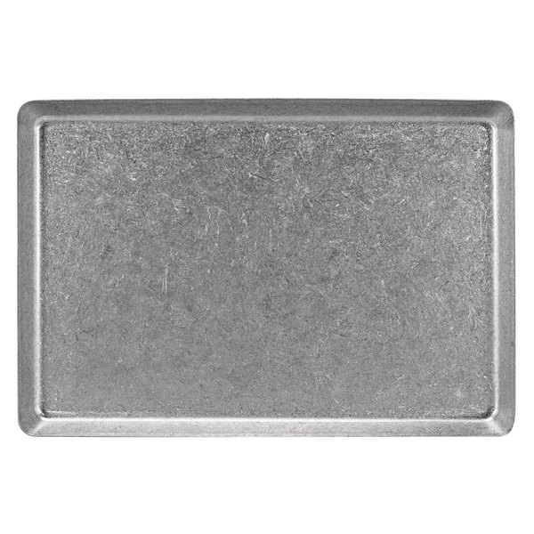 """Front of the House DDP074ANS21 Mod 13"""" x 7"""" Rectangular Antique Finish Stainless Steel Plate - 4/Case Main Image 1"""