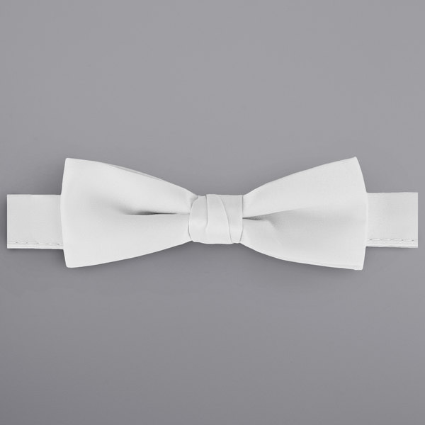 """Henry Segal White 1 1/2"""" Wide Adjustable Band Poly-Satin Bow Tie Main Image 1"""