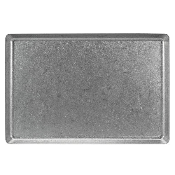 """Front of the House DDP073ANS21 Mod 14"""" x 9 1/2"""" Rectangular Antique Finish Stainless Steel Plate - 4/Case Main Image 1"""