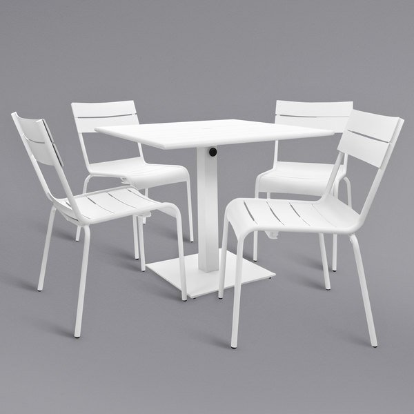 "BFM Seating YKM-B32WHU Beachcomber 32"" Square White Powder Coated Aluminum Dining Height Outdoor / Indoor Table with Umbrella Hole and 4 Chairs Main Image 1"