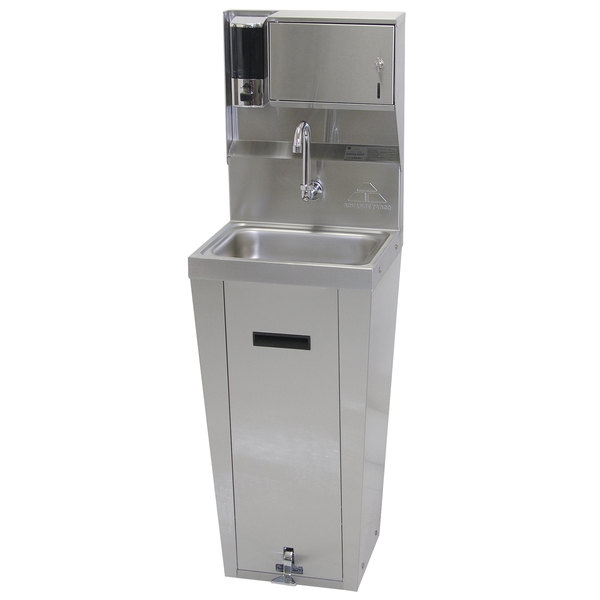 Advance Tabco 7-PS-95 Hands Free Hand Sink with Pedestal Base and Soap and Towel Dispenser
