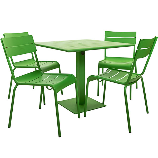 """BFM Seating YKM-B32LMU Beachcomber 32"""" Square Lime Powder Coated Aluminum Dining Height Outdoor / Indoor Table with Umbrella Hole and 4 Chairs Main Image 1"""