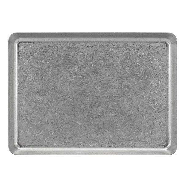 "Front of the House DAP083ANS22 Mod 8 1/4"" x 6"" Rectangular Antique Finish Stainless Steel Plate - 6/Case Main Image 1"