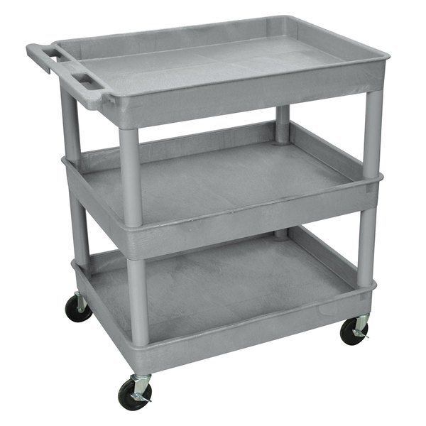 "Luxor TC111-G Gray 3 Tub Utility Cart - 24"" x 32"" x 38 1/2"" Main Image 1"