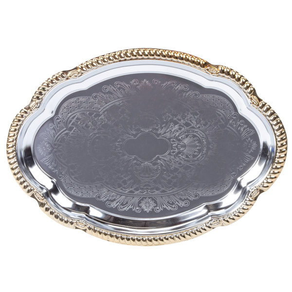 """Vollrath 47265 Odyssey 18 1/8"""" x 13"""" Oval Gold Trim Metal Catering Tray"""
