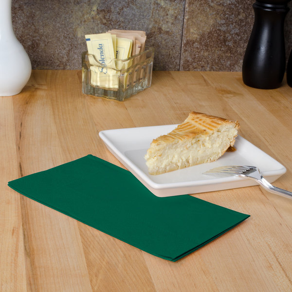 "Hoffmaster 180537 Hunter Green 15"" x 17"" 2-Ply Paper Dinner Napkin - 125/Pack Main Image 4"