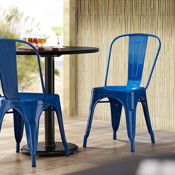 Lancaster Table & Seating Alloy Series Blue Metal Indoor / Outdoor Industrial Cafe Chair with Vertical Slat Back and Drain Hole Seat Main Image 4