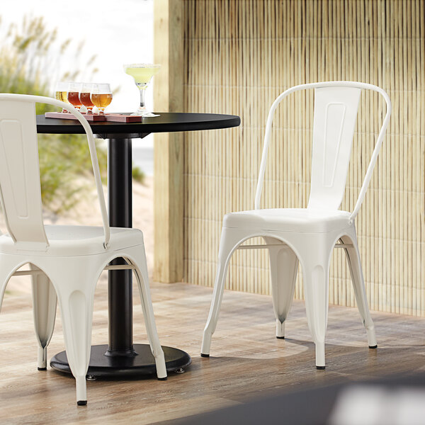 Lancaster Table & Seating Alloy Series White Metal Indoor / Outdoor Industrial Cafe Chair with Vertical Slat Back and Drain Hole Seat Main Image 4