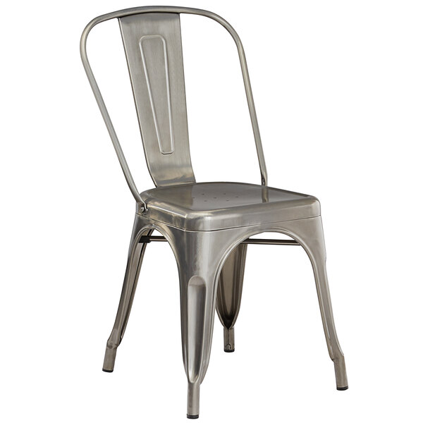 Lancaster Table & Seating Alloy Series Clear Coat Metal Indoor Industrial Cafe Chair with Vertical Slat Back and Drain Hole Seat Main Image 1