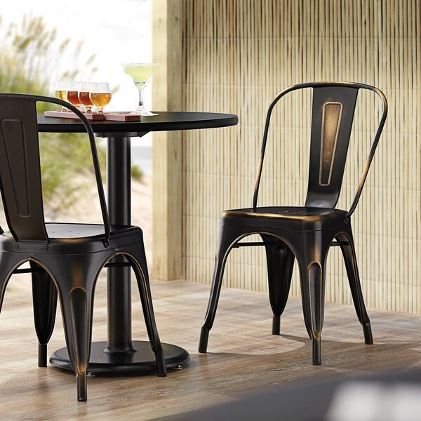 Lancaster Table & Seating Alloy Series Distressed Copper Metal Indoor / Outdoor Industrial Cafe Chair with Vertical Slat Back and Drain Hole Seat Main Image 4