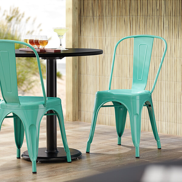 Lancaster Table & Seating Alloy Series Seafoam Metal Indoor / Outdoor Industrial Cafe Chair with Vertical Slat Back and Drain Hole Seat Main Image 4