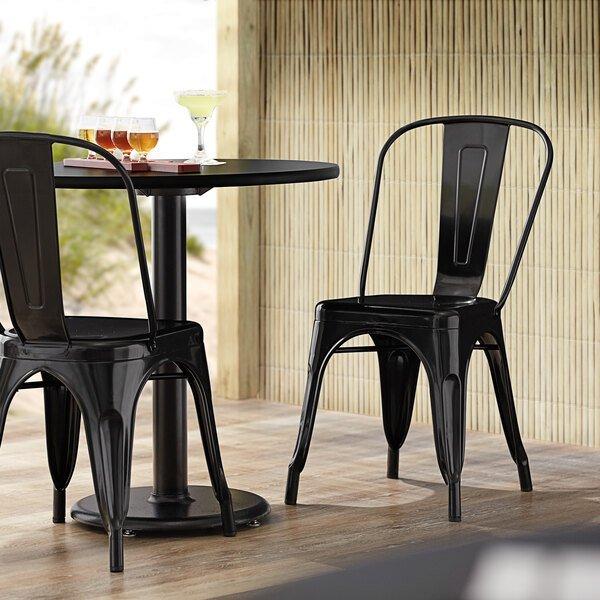 Lancaster Table & Seating Alloy Series Black Metal Indoor / Outdoor Industrial Cafe Chair with Vertical Slat Back and Drain Hole Seat Main Image 4