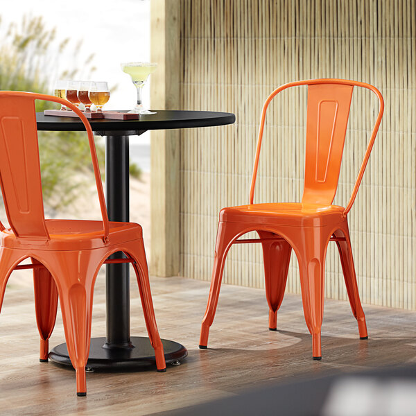 Lancaster Table & Seating Alloy Series Orange Metal Indoor / Outdoor Industrial Cafe Chair with Vertical Slat Back and Drain Hole Seat Main Image 4