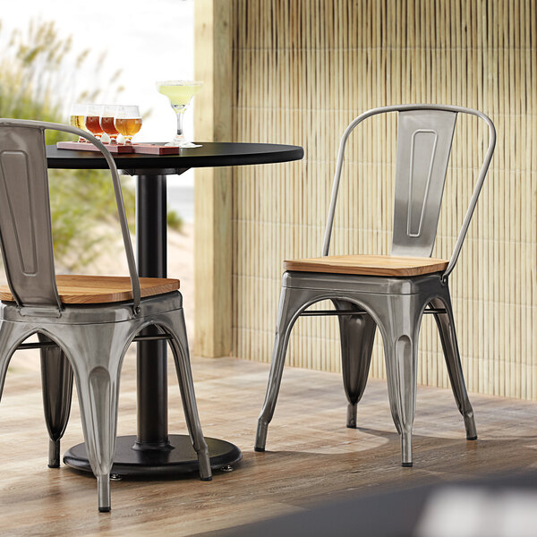 Lancaster Table & Seating Alloy Series Natural Wooden Seat for Industrial Cafe Chairs Main Image 3