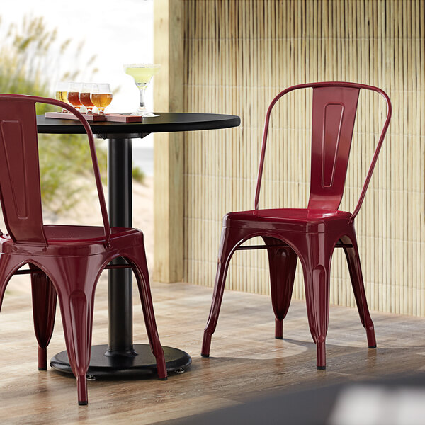 Lancaster Table & Seating Alloy Series Sangria Metal Indoor / Outdoor Industrial Cafe Chair with Vertical Slat Back and Drain Hole Seat Main Image 4