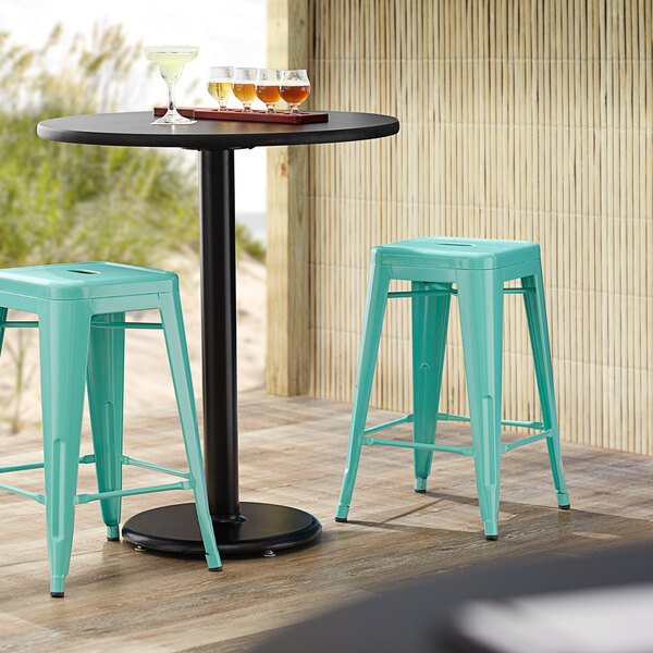 Lancaster Table & Seating Alloy Series Seafoam Stackable Metal Indoor / Outdoor Industrial Cafe Counter Height Stool with Drain Hole Seat Main Image 3