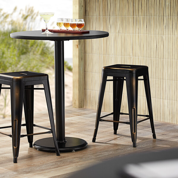 Lancaster Table & Seating Alloy Series Distressed Copper Stackable Metal Indoor / Outdoor Industrial Cafe Counter Height Stool with Drain Hole Seat Main Image 3