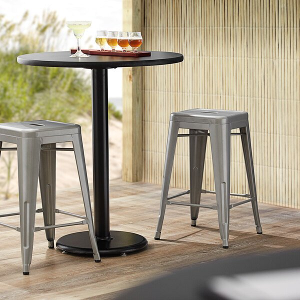 Lancaster Table & Seating Alloy Series Silver Stackable Metal Indoor / Outdoor Industrial Cafe Counter Height Stool with Drain Hole Seat Main Image 3