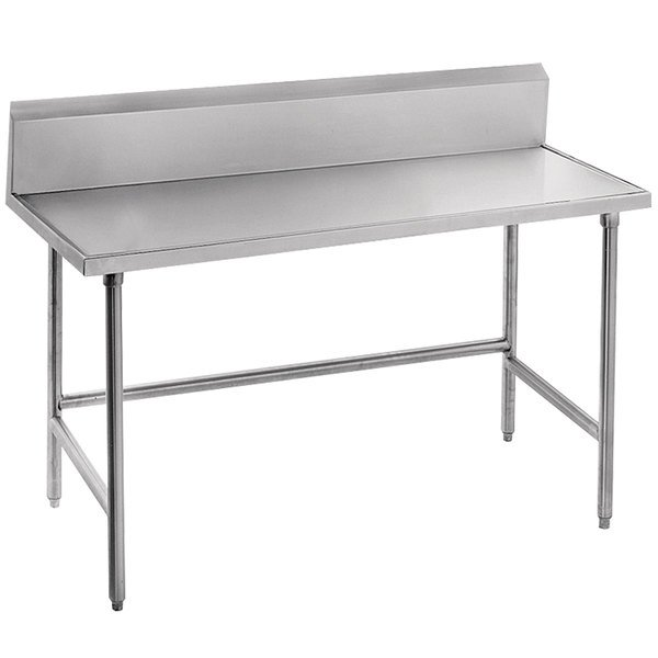 "Advance Tabco TVKG-305 30"" x 60"" 14 Gauge Open Base Stainless Steel Commercial Work Table with 10"" Backsplash"