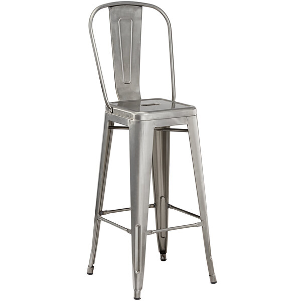 Lancaster Table & Seating Alloy Series Clear Coat Metal Indoor Industrial Cafe Barstool with Vertical Slat Back and Drain Hole Seat Main Image 1