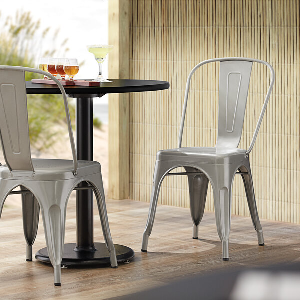 Lancaster Table & Seating Alloy Series Silver Metal Indoor / Outdoor Industrial Cafe Chair with Vertical Slat Back and Drain Hole Seat Main Image 4