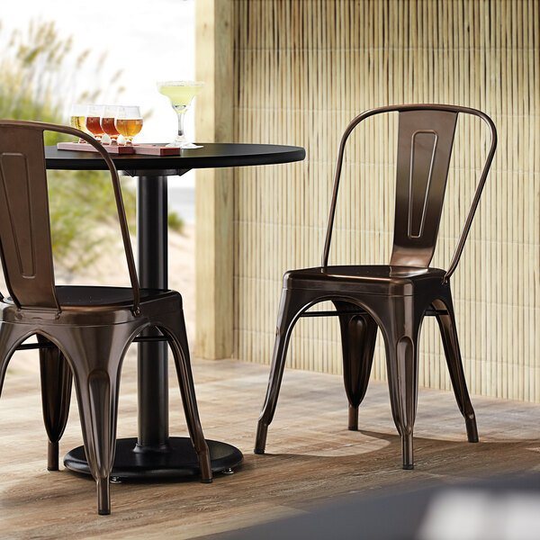 Lancaster Table & Seating Alloy Series Copper Metal Indoor / Outdoor Industrial Cafe Chair with Vertical Slat Back and Drain Hole Seat Main Image 4