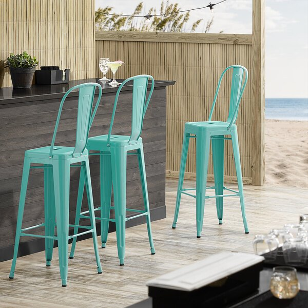 Lancaster Table & Seating Alloy Series Seafoam Metal Indoor / Outdoor Industrial Cafe Barstool with Vertical Slat Back and Drain Hole Seat Main Image 4