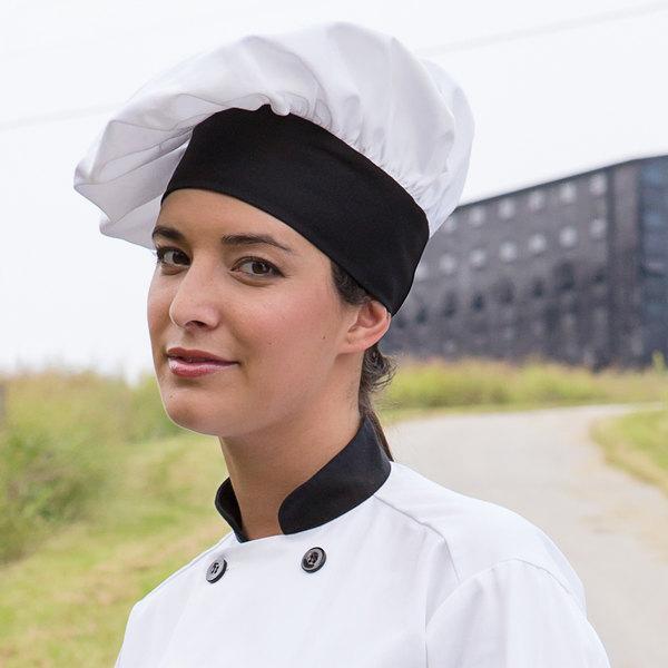 Uncommon Threads 0150 White / Black Customizable Twill Chef Hat Main Image 3
