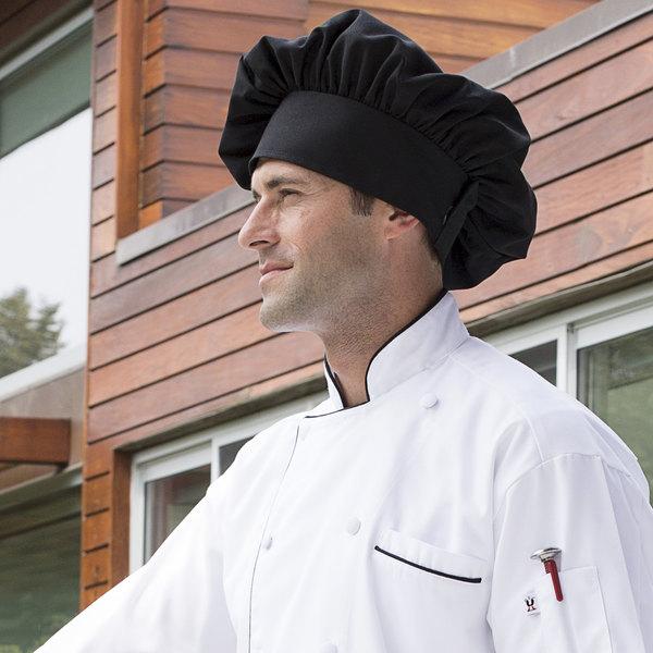 Uncommon Threads 0150 Black Customizable Twill Chef Hat Main Image 3