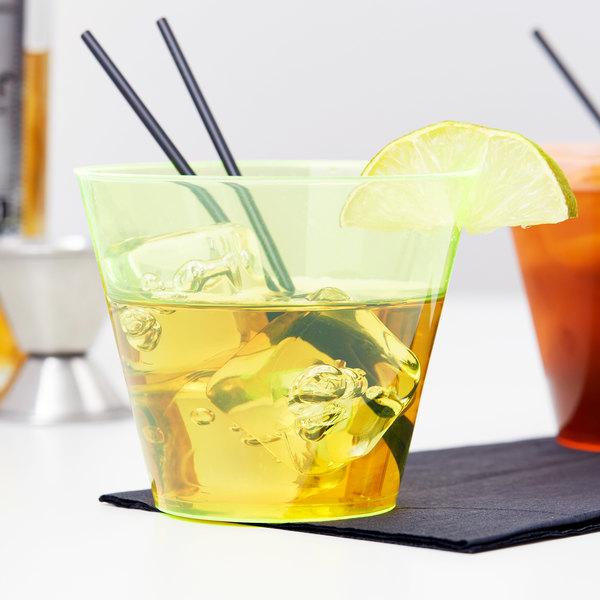 Fineline Savvi Serve 409-Y 9 oz. Squat Neon Yellow Hard Plastic Tumbler - 20/Pack Main Image 2
