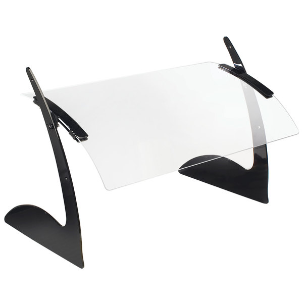 "Cal-Mil 1729-3 31"" Acrylic Curved Rectangular Adjustable Sneeze Guard with Black Metal Frame"
