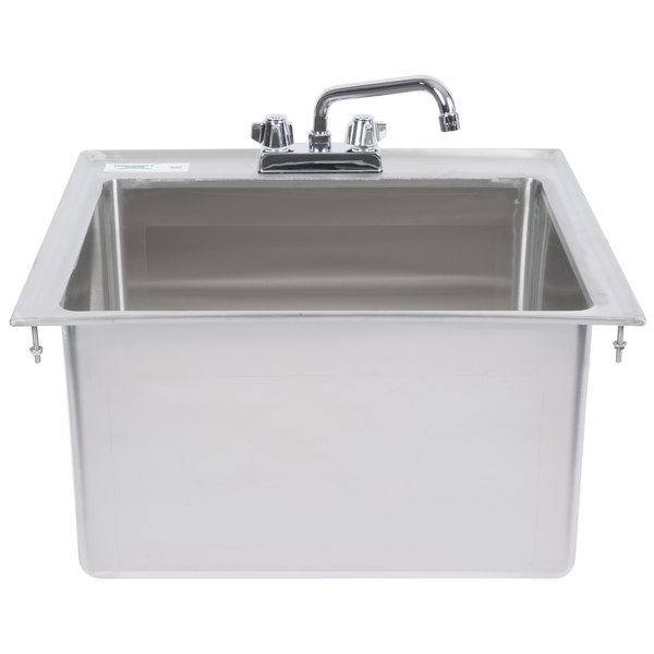 """Regency 20"""" x 16"""" x 12"""" 16-Gauge Stainless Steel One Compartment Drop-In Sink with 8"""" Faucet"""