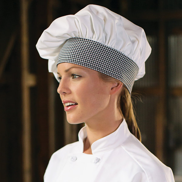 Uncommon Threads 0150 White / Houndstooth Customizable Twill Chef Hat Main Image 3