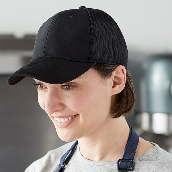 Henry Segal Customizable 6-Panel Black Chef Cap with Mesh Back, Moisture Wicking Band, and UV Protection Main Image 3