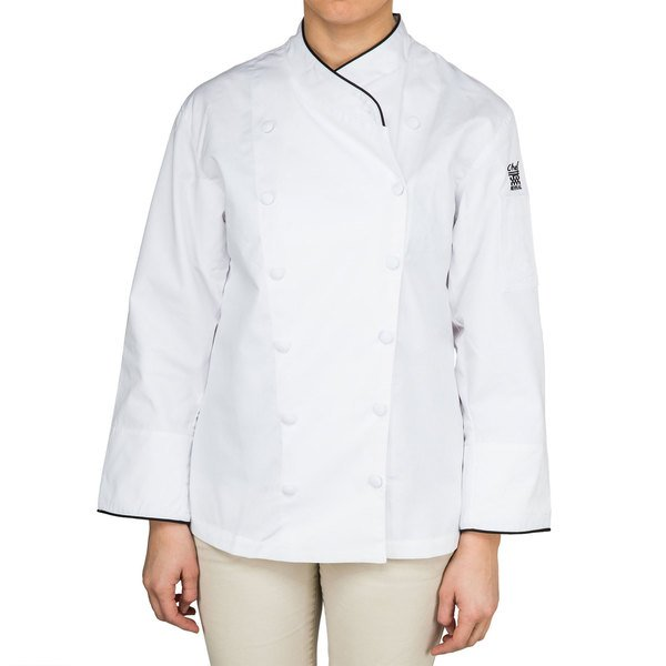 Chef Revival Gold LJ008-XL Ladies Chef-Tex Size 16-18 (XL) Customizable Poly-Cotton Corporate Jacket with Black Piping