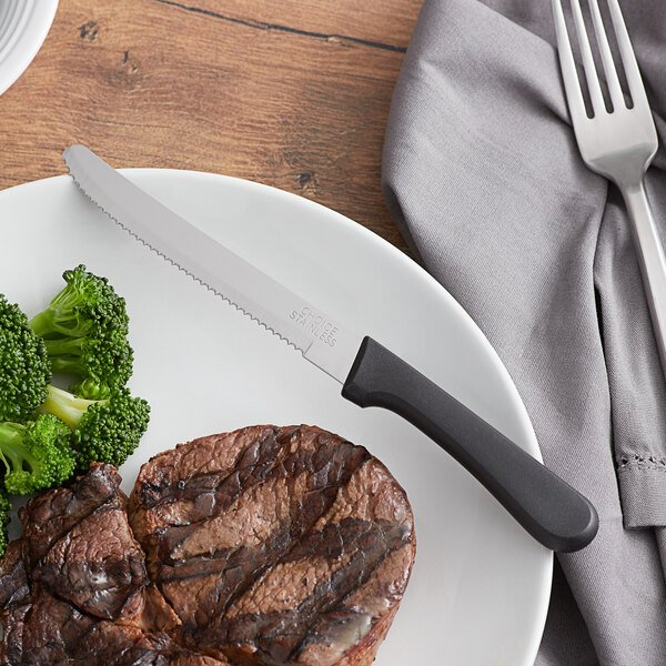 """Choice 4 3/4"""" Stainless Steel Steak Knife with Black Polypropylene Handle - 12/Case Main Image 2"""