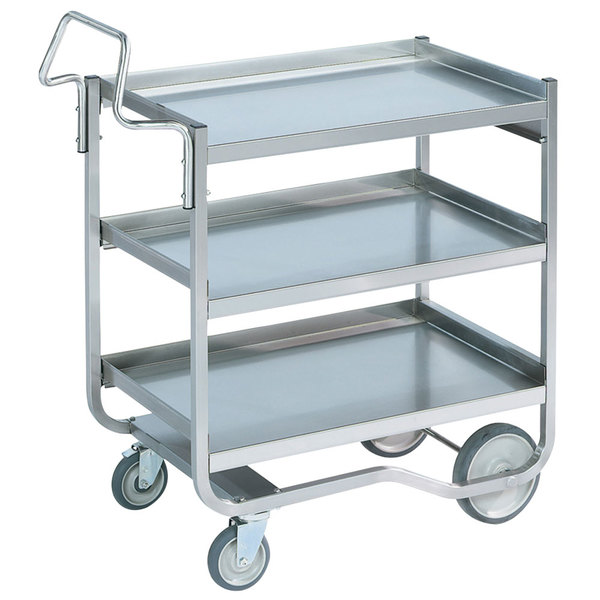 "Vollrath 97208 Heavy-Duty Stainless Steel 3 Shelf Utility Cart - 44"" x 23"" x 44 1/2"" Main Image 1"