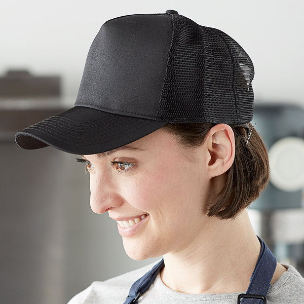 Henry Segal Customizable 5-Panel Black Chef Cap with Mesh Back Main Image 3