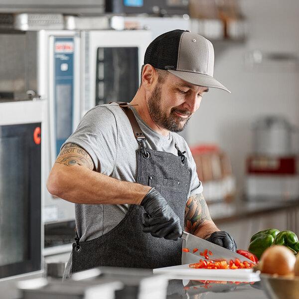 Mercer Culinary Gray Customizable 6-Panel Chef Trucker Cap with Mesh Back Main Image 2