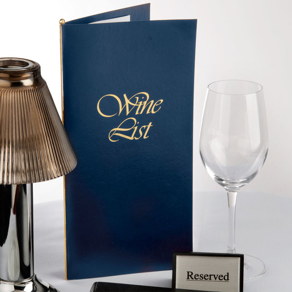 "Menu Solutions L702C 5 1/2"" x 11"" Wine List Cover - Dark Blue Main Image 8"