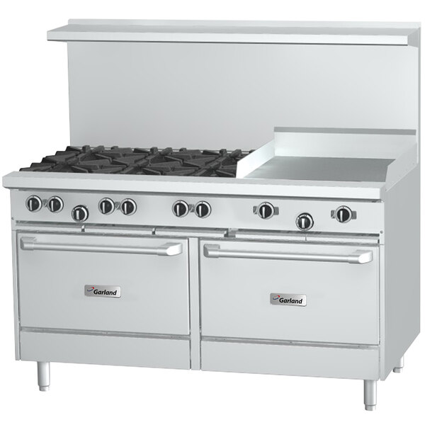 """Garland G60-8G12RC Natural Gas 8 Burner 60"""" Range with 12"""" Griddle, 1 Standard Oven, and 1 Convection Oven - 358,000 BTU Main Image 1"""