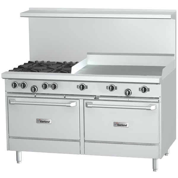 """Garland G60-G60RC Natural Gas 60"""" Range with 60"""" Griddle, 1 Standard Oven, and 1 Convection Oven - 166,000 BTU Main Image 1"""