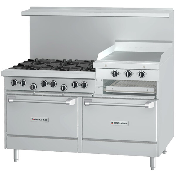 """Garland G60-6R24RC Natural Gas 6 Burner 60"""" Range with 24"""" Raised Griddle / Broiler, 1 Standard Oven, and 1 Convection Oven - 307,000 BTU Main Image 1"""